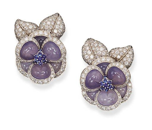 """A PAIR OF CHALCEDONY, SAPPHIRE AND DIAMOND """"BLUE GARDENIA"""" EAR CLIPS, BY VAN CLEEF & ARPELS  Each composed of blue chalcedony and circular-cut diamond petals to the cabochon sapphire pistils and pavé-set leaves, mounted in platinum  Signed Van Cleef & Arpels, N.Y., nos. 62783 and 63110"""