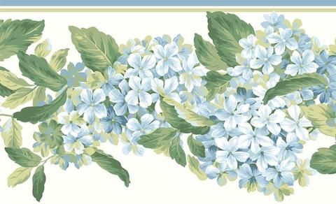 York Blue Hydrangea Blooms Wallpaper Border AK7437B