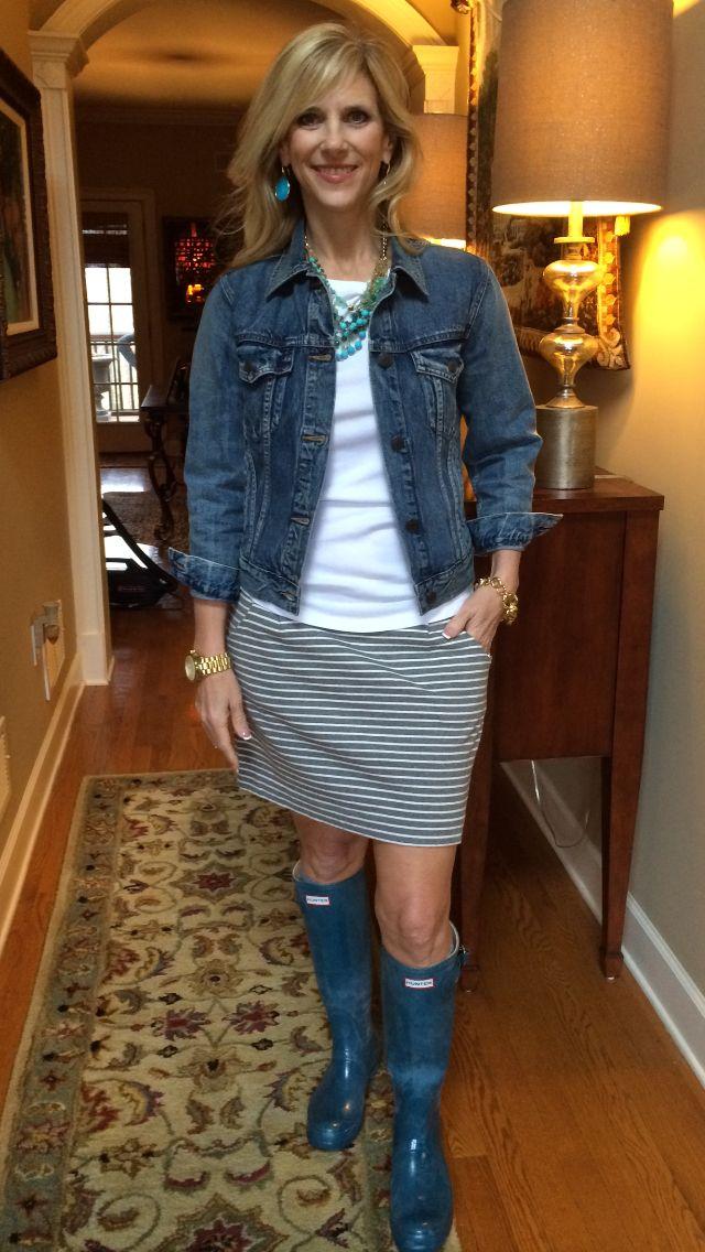 Skirt and T-shirt - #Gap @gap Jean Jacket and Gold Bracelet - #JCrew @jcrew Boots - #Hunter Watch - #MichaelKors Necklace and Earrings - #stellaanddot