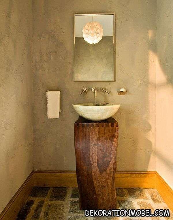 Feuchtraum Trendig Waschbecken Freistehend Holz Dunkel Natursteine  Wandverkleidung Keramikfliesen
