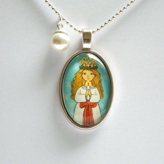 Saint Lucy necklace Saint necklace Swedish Christmas necklace Saint