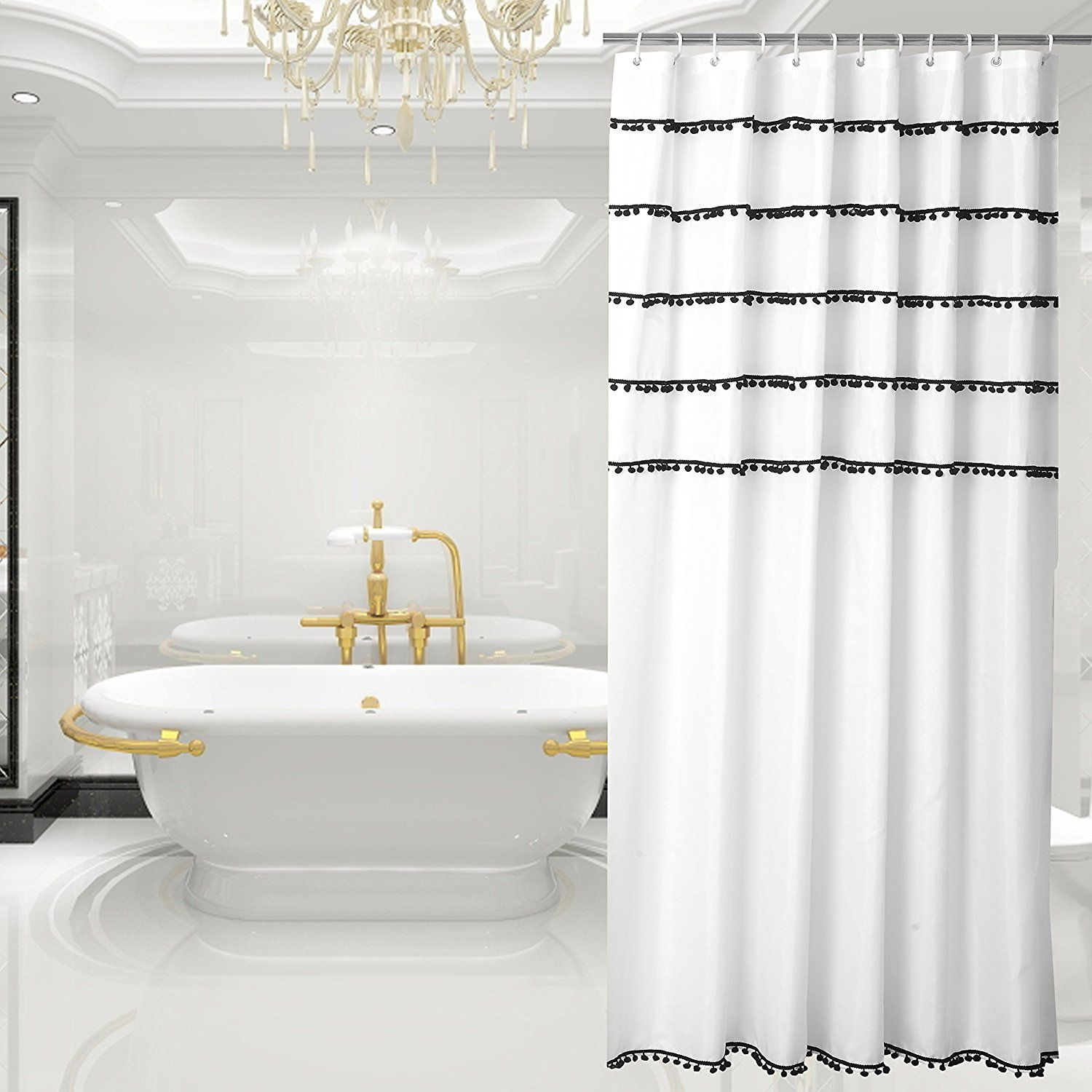 Amazon Yuunity Shower Curtain Polyester Fabric Mildew Resistant Water Proof Non Toxic Bath 72x80 White With Black Tassel Home Kitchen