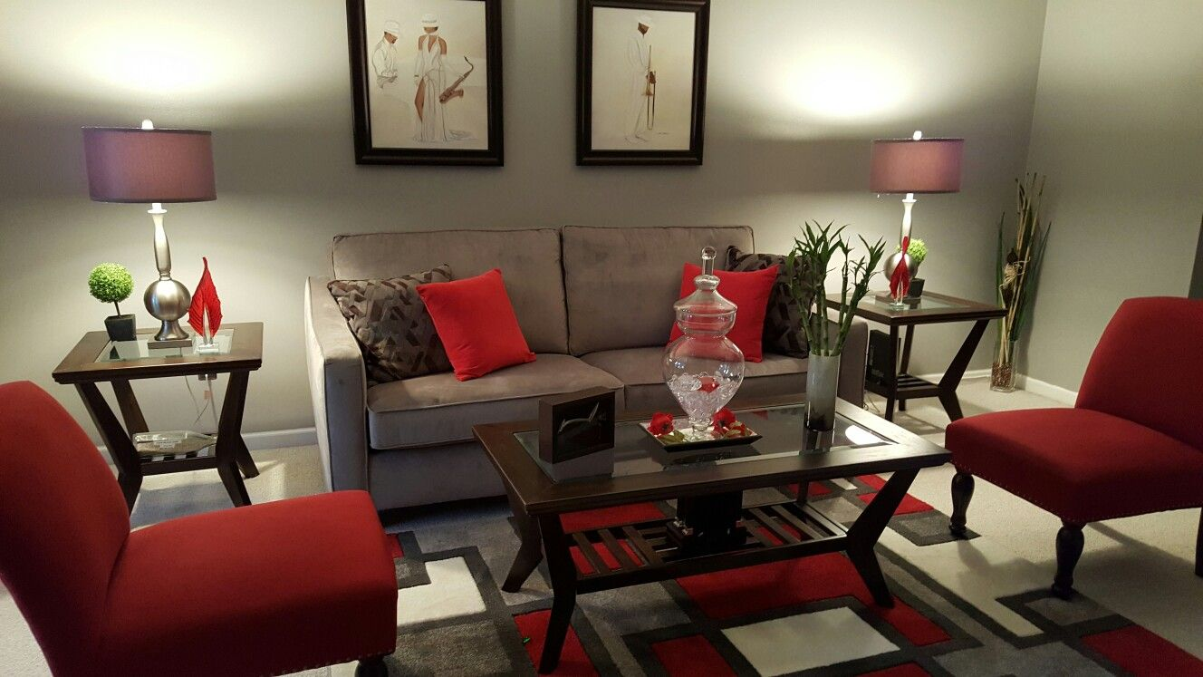 beautiful grey and red living room look like a showroom