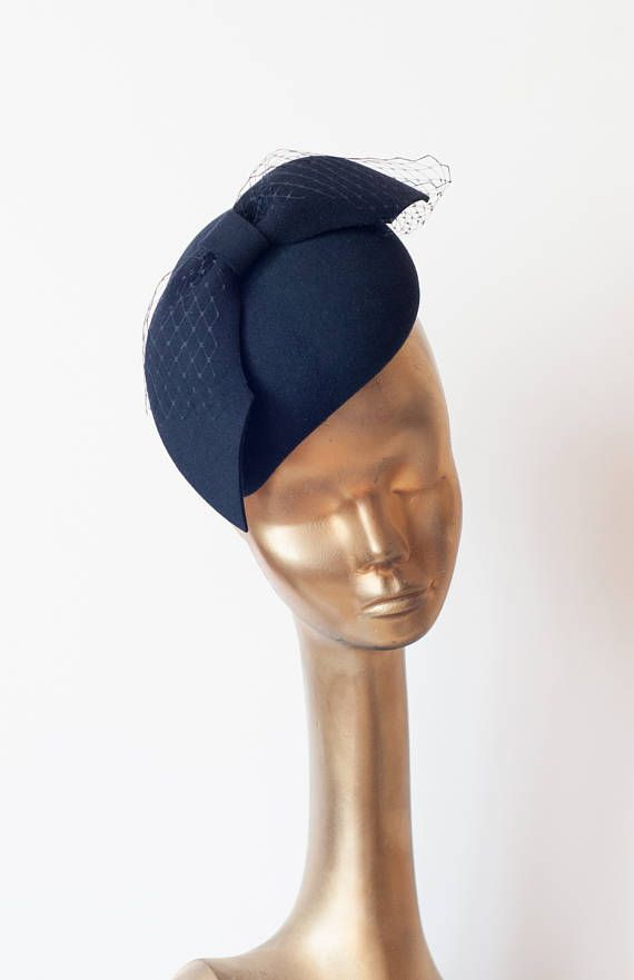 c784b3d33175a Unique Modern Dark Navy Blue Felt Fascinator. Decorated with French Veil  For parties and outdoors