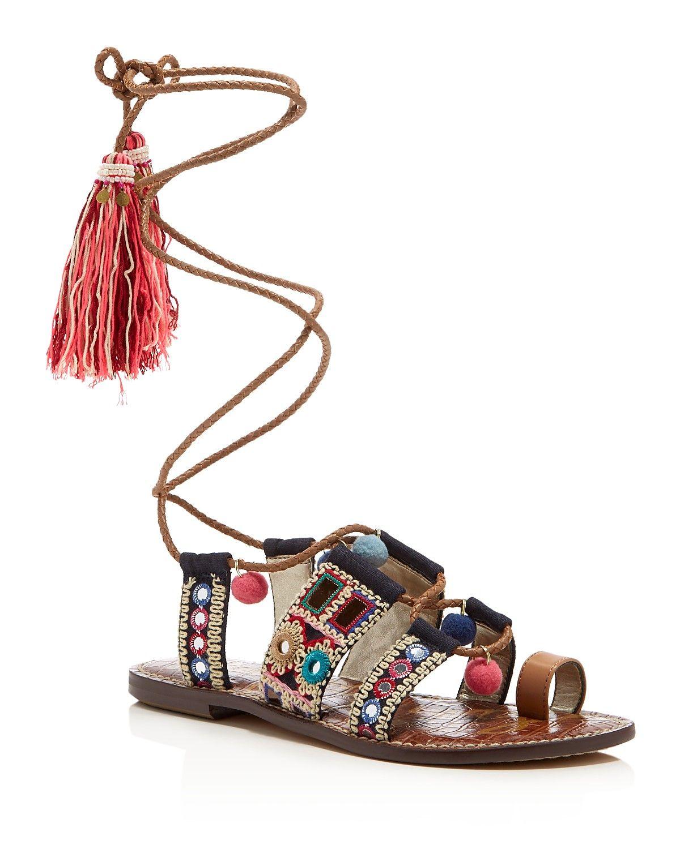 48a6445f4f8 Sam Edelman Gretchen Embellished Lace Up Sandals