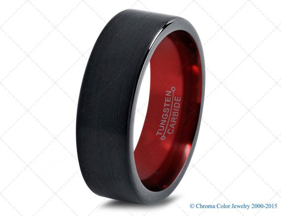 mens wedding bandblack red tungsten by chromacolorjewelry on etsy - Black Mens Wedding Ring