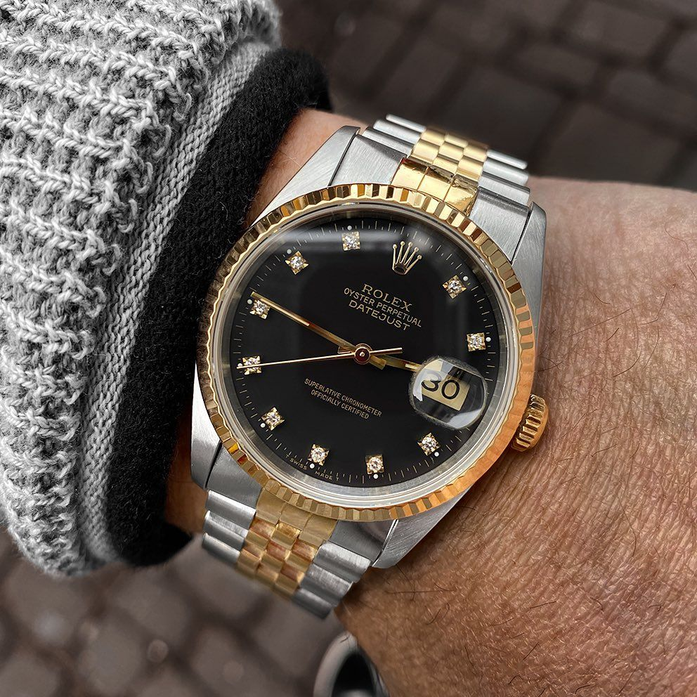 433 Likes 4 Comments Watches Of Wales Watchesofwales On Instagram Rolex Datejust Matte Black Diamond Dot 16233 C In 2020 Rolex Datejust Rolex Watches For Men