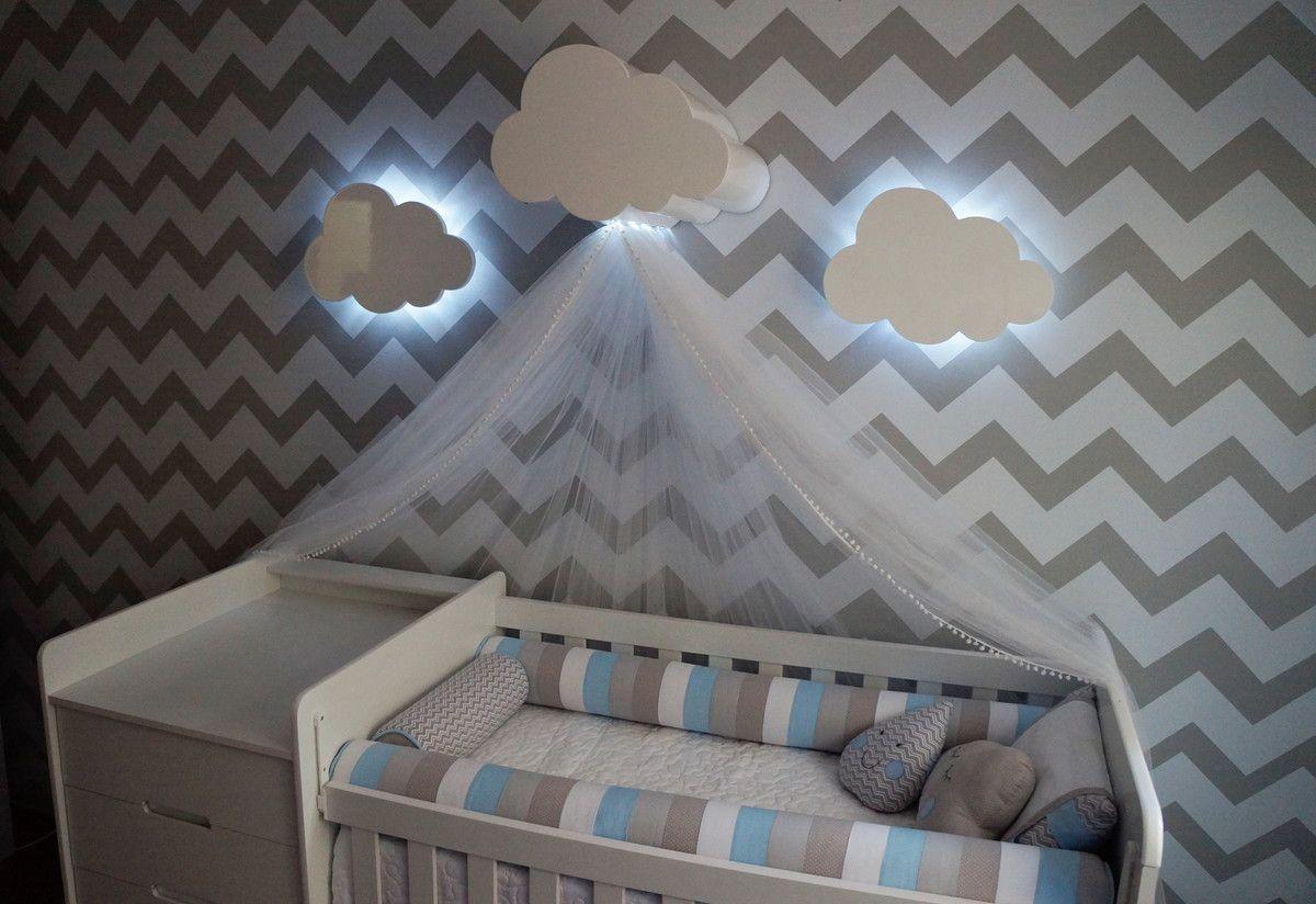 Dossel Nuvem Com Luz Babies Nursery And Room ~ Luminaria A Pilha Para Quarto E Pintura De Quarto De Bebê