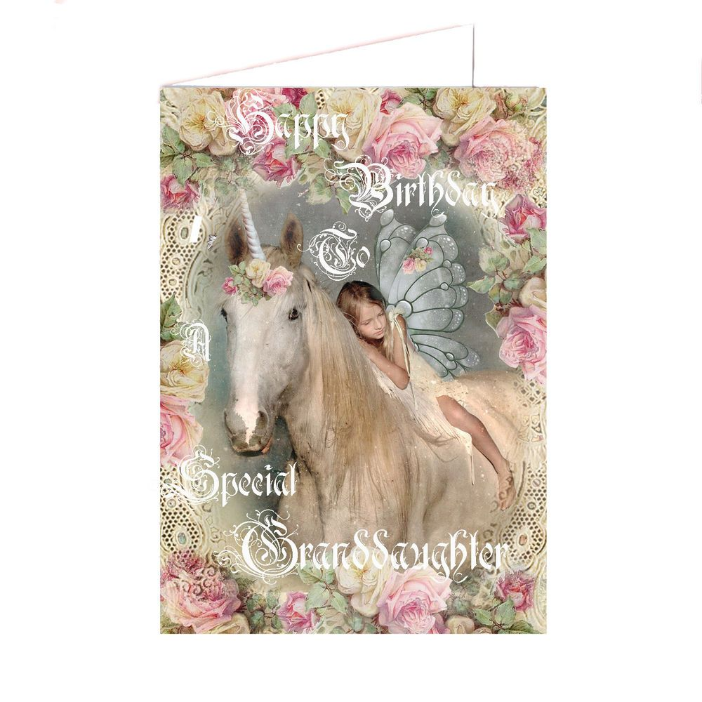 Details about Special Granddaughter birthday card, Unicorn