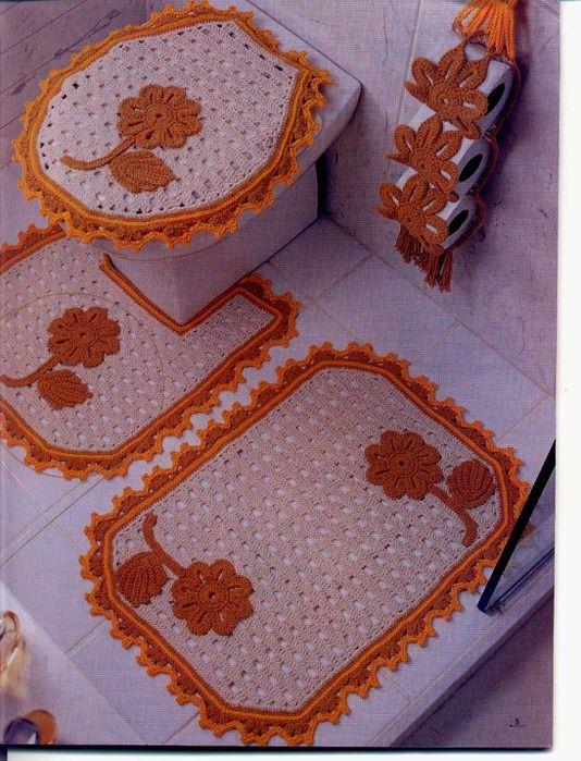 Conjunto para el ba o con hermosos colores crochet casa - Colores para el bano ...