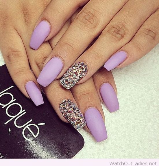 Long Matte Lavender Nails With Glitter