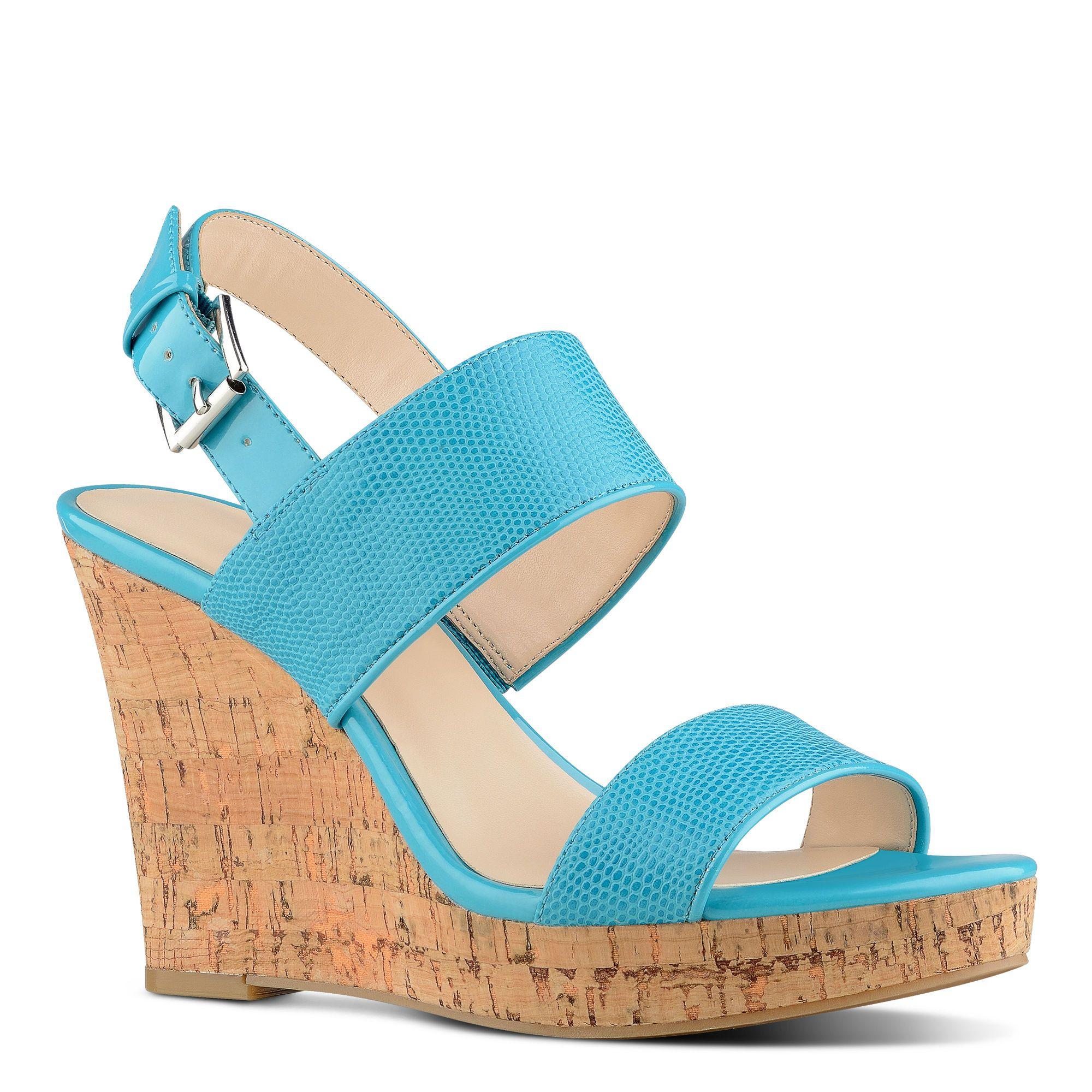 Lucini Turquoise Wedge Sandal | Nine West