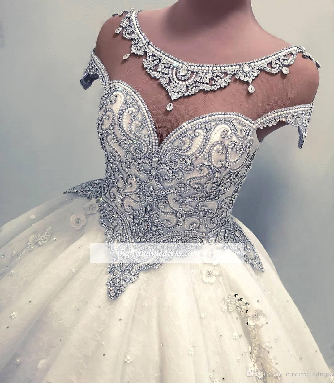 Luxury Real Images Cap Sleeves Ball Gown Wedding Dresses 2019 Shiny Crystals Sparkly Sequin Rhinestones Bridal Gowns Bc0019 Red Prom Dresses Short Dresses From Wedding Dress Sleeves Short Red Prom [ 1236 x 1080 Pixel ]
