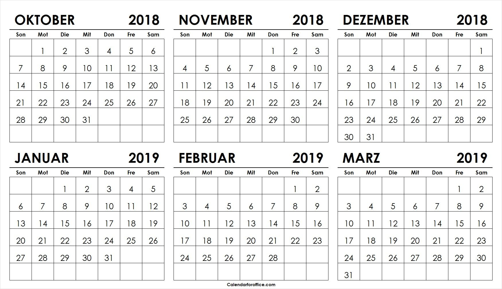 kalender oktober november dezember 2018 januar februar marz 2019 free printables printables. Black Bedroom Furniture Sets. Home Design Ideas