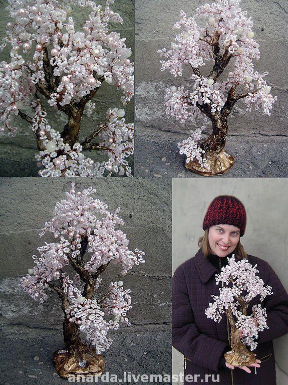 Купить Невеста - бисер, подарки и сувениры, натуральные камни, бисерное  дерево, Дерево из бисера 1fbb9834ad6