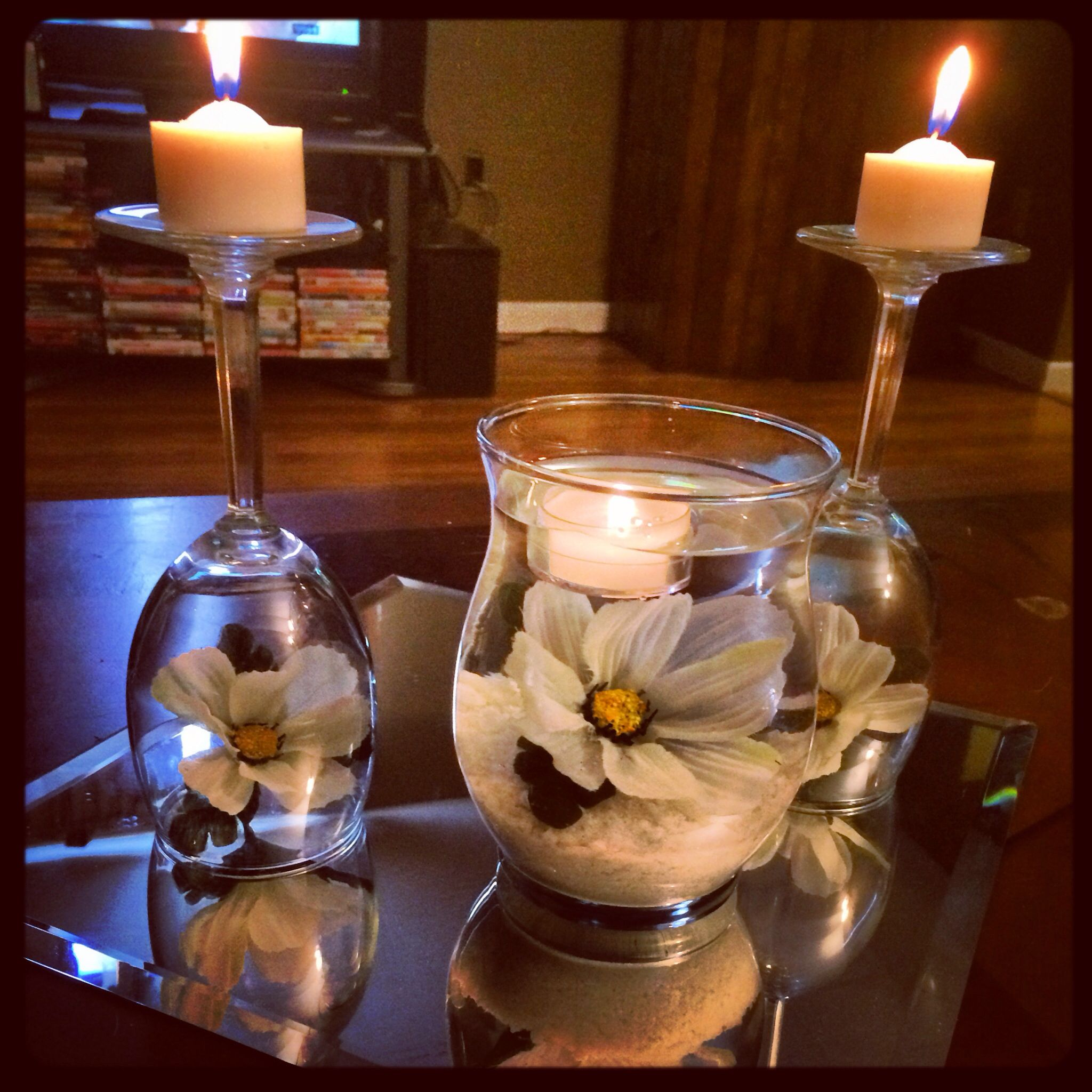 Coffee Table Spring Candle Centerpiece Wine Glasses, White Sand, Sunflowers,