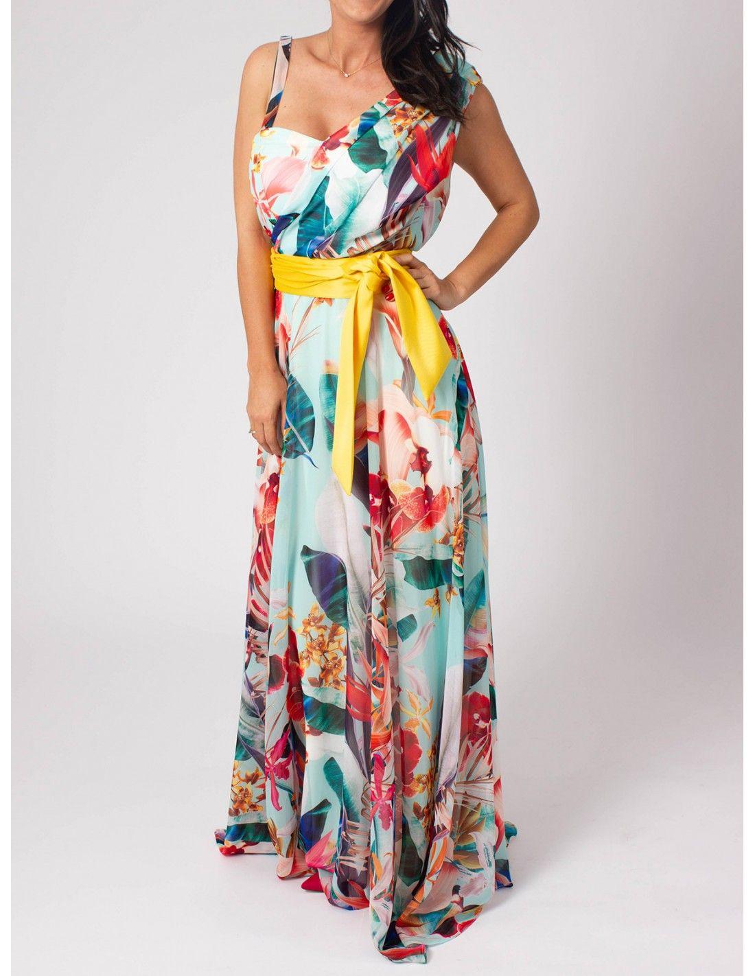 Vestido Saril - Vestido de gasa con fondo color turquesa y con estampado de  flores. 888d478bb032