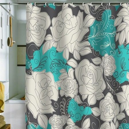 Grey and teal shower curtains teal gray shower curtain for Teal and gray bathroom ideas