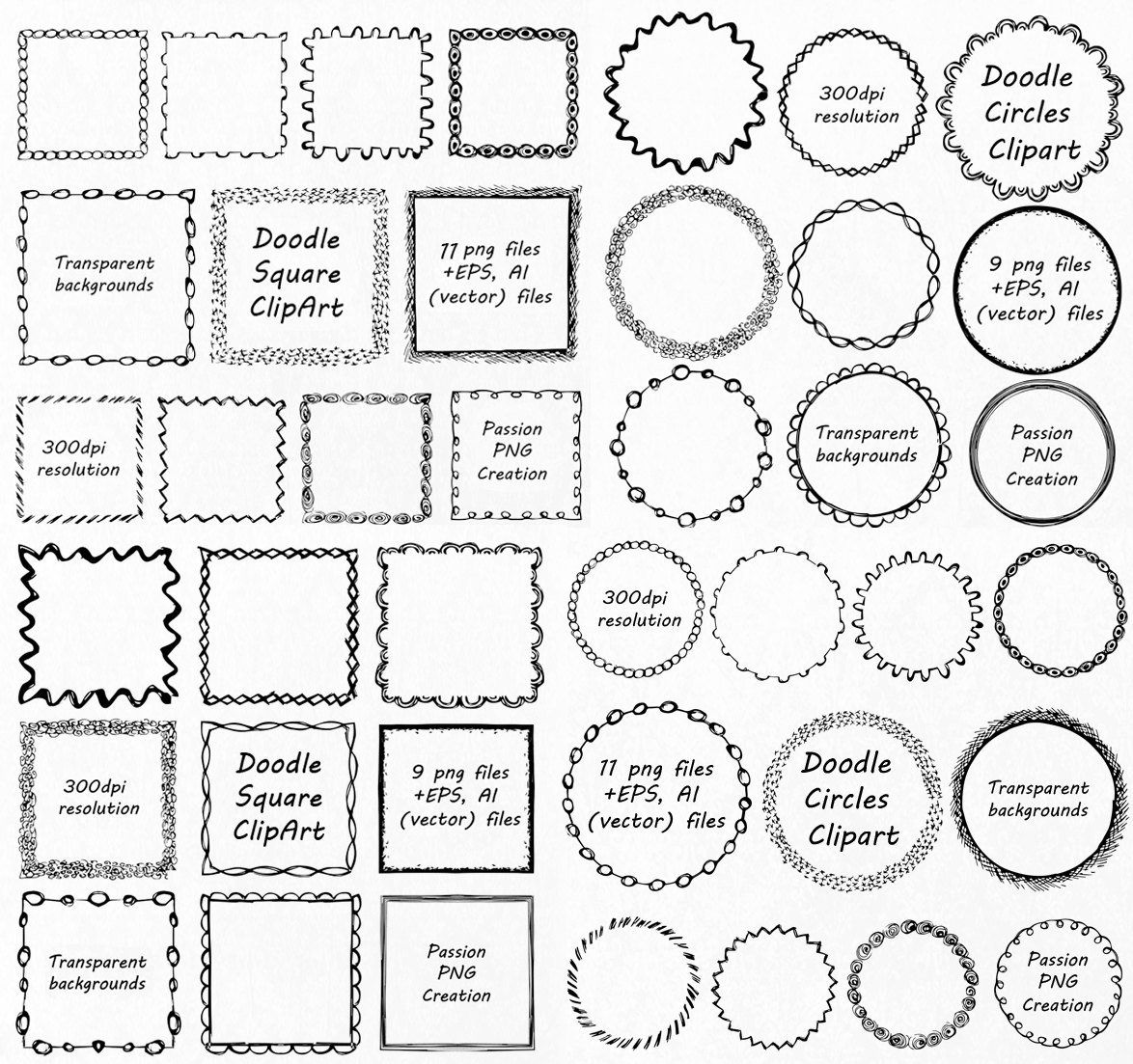 Big Set Doodle Frames Clipart Square And Round Frames Doodle Clipart Hand Drawn Clip Art Png Eps Vector Personal And Commercial Use Rahmen Clipart Clipart Muster Malen