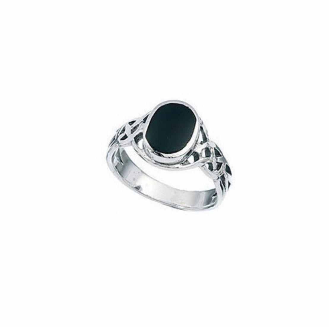 Celtic Oval Black Onyx Boys Ring   Black onyx