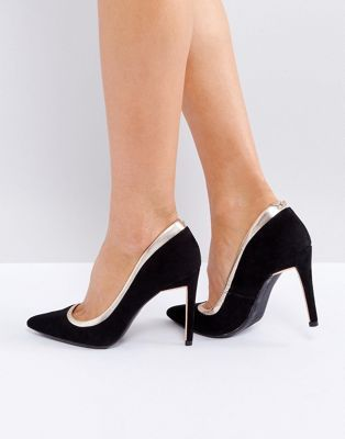 ted baker sayu black and rose gold court shoes  black