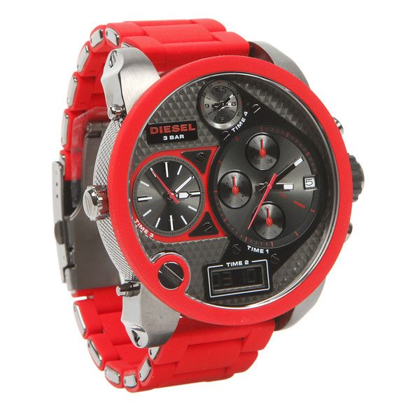 diesel dz7279 oversize gunmetal red dial silicone men watch this diesel dz7279 oversize gunmetal red dial silicone men watch this very eye catching timepiece