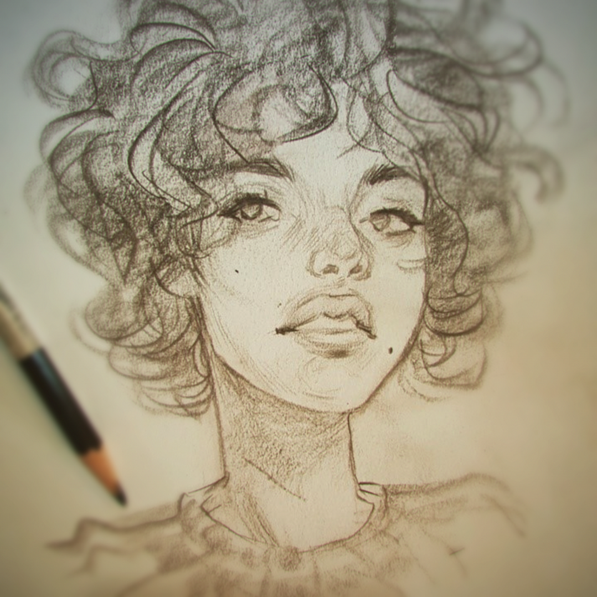 Short Messy Hair Sketch Dook This Afternoon Curly Hair Drawing Drawings Portrait Sketches