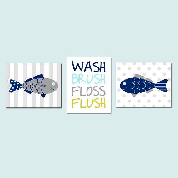 Fish Bathroom Decor Fish Bathroom Art Fish Wall Art Kids Bathroom