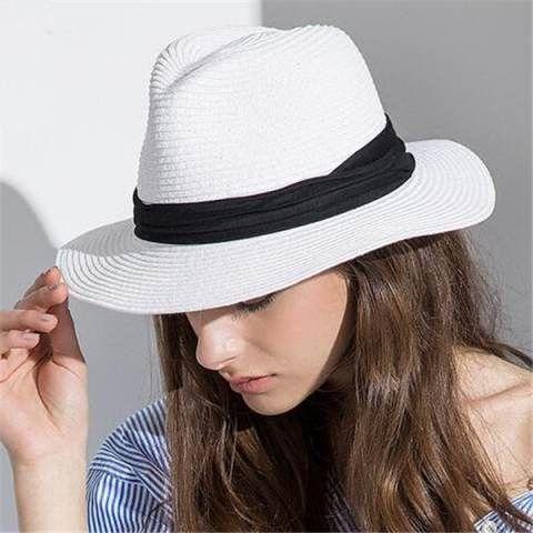 White straw panama hat for women summer beach sun hats package