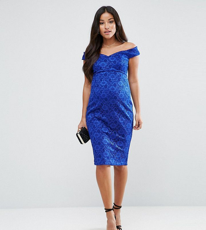 Lace Pencil Dress with Frill Pephem - Green Asos Maternity