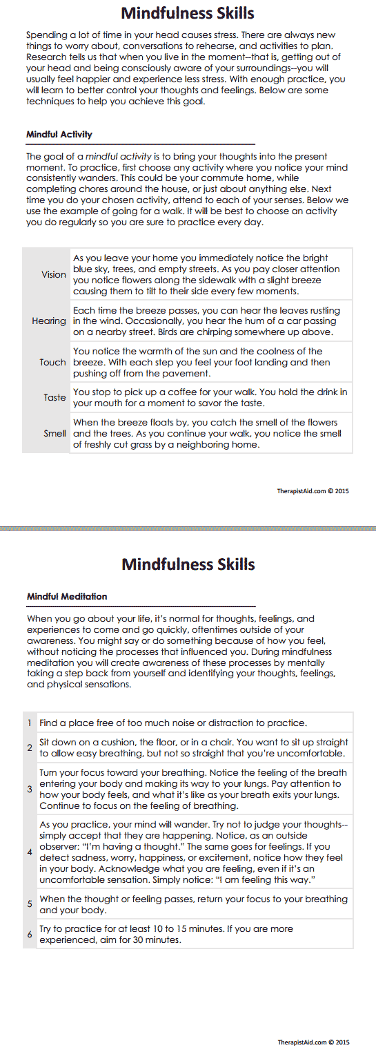 worksheet Active Listening Skills Worksheets dbt mindfulness skills preview in session self knowledge preview
