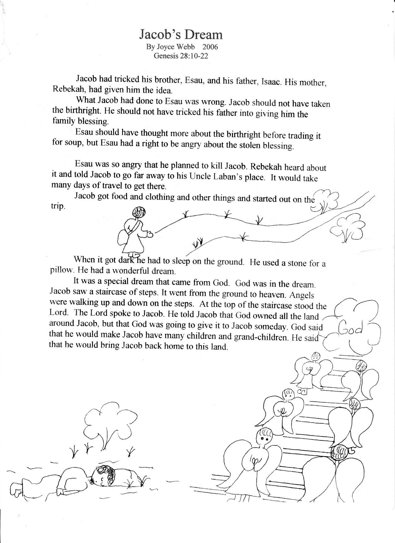 Bible Worksheets Jacobs Dream Childrens Bible Verse Coloring