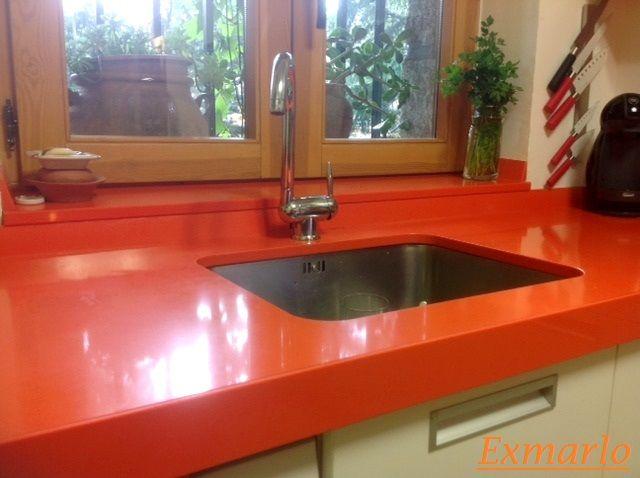 Encimera de Silestone naranja regruesada de 4 cms