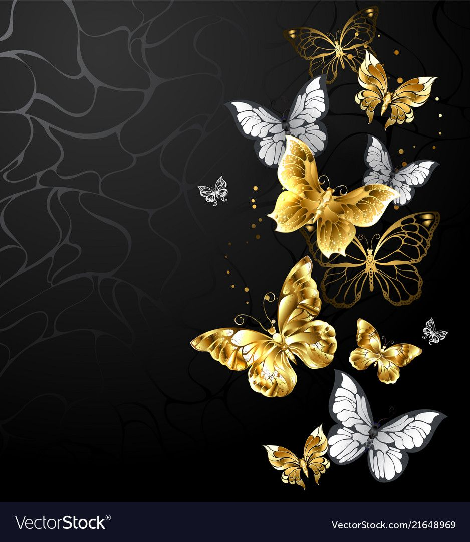 Gold And White Butterflies Vector Image On Gold And Black