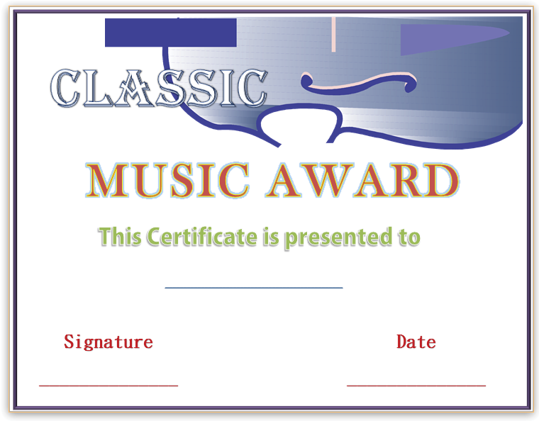 FirstString Music Award Certificate Template  Award Certificate