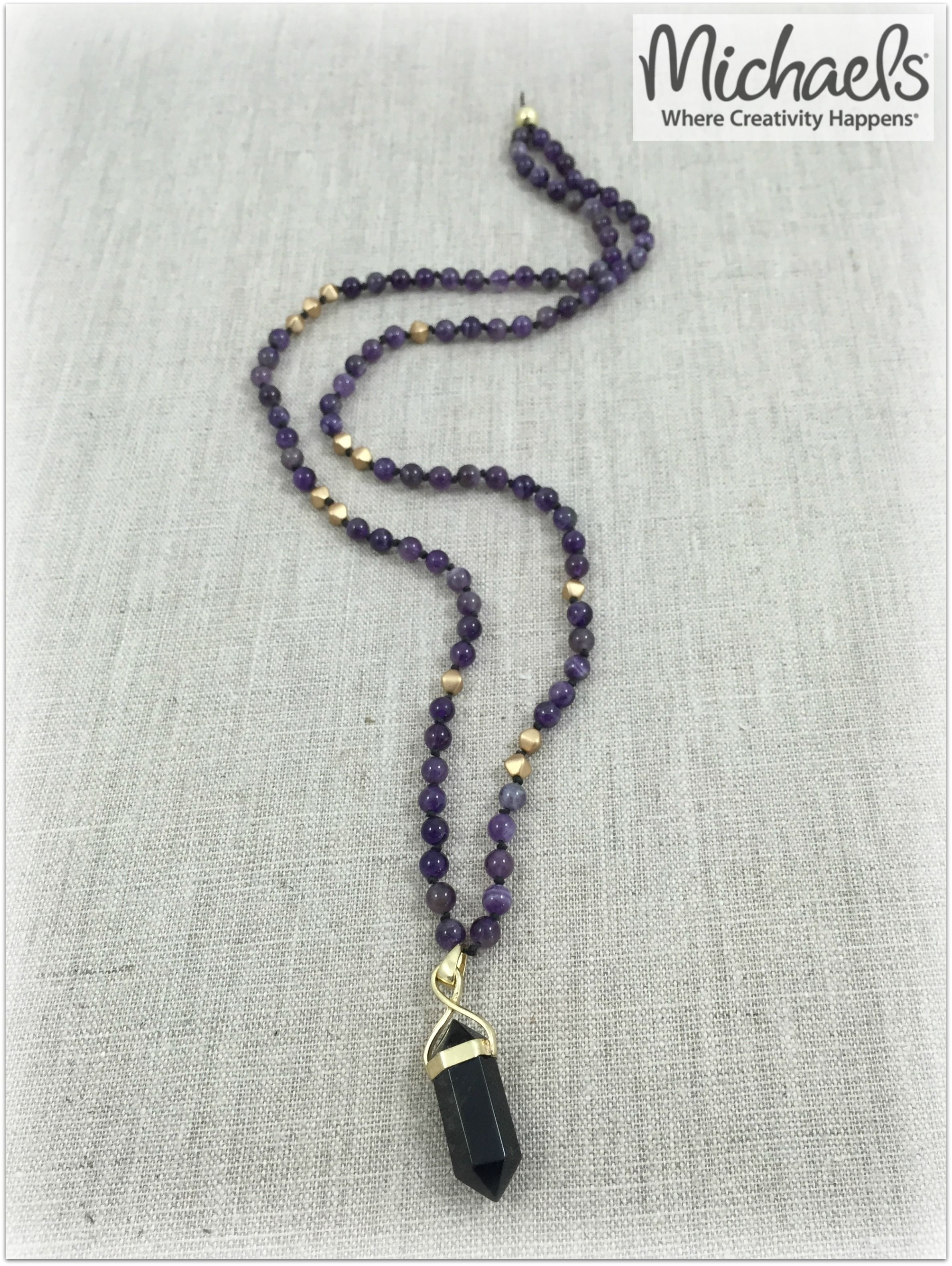 Make your own diy amethyst and onyx knotted necklace with make your own diy amethyst and onyx knotted necklace with beadgallery beads and sedona pendants aloadofball Gallery
