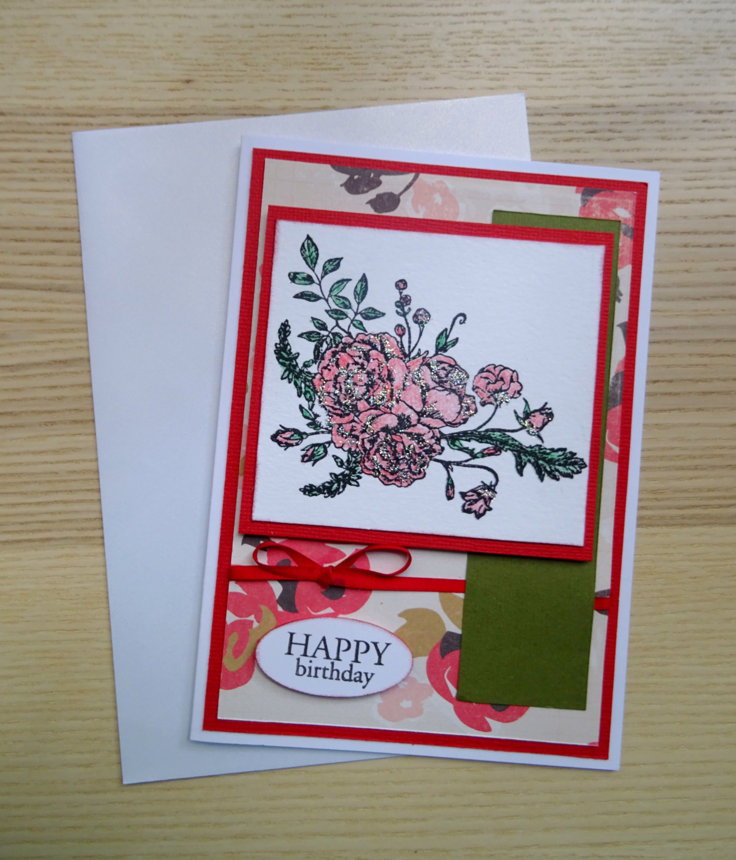 Roses are Red Birthday Greeting Card Happy Birthday Card Floral