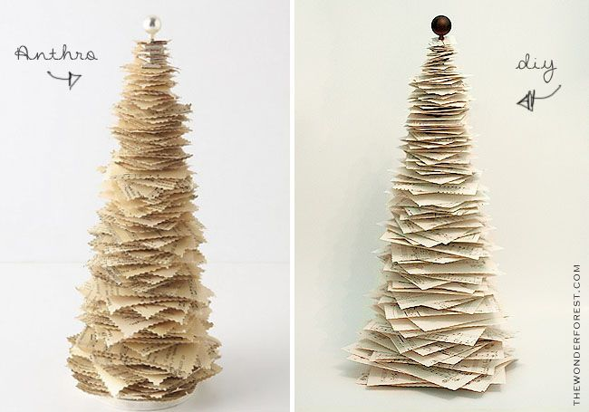 diy paper tree cute with vintage christmas book