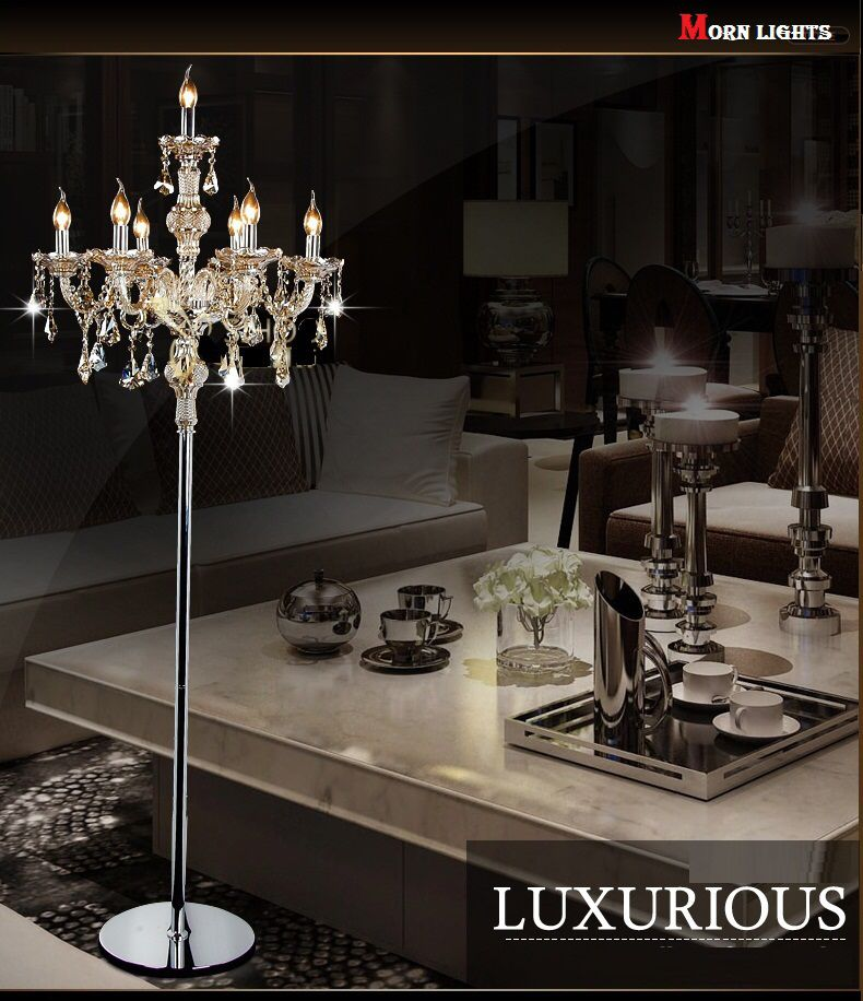 Fashion Modern Crystal Floor Lamp Living Room Lights Bedroom Lamps Crystal  French Modern Stand Lights Crystal