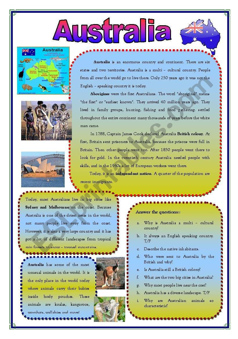 Basic Information About Australia Its Native Inhabitants And Wild Life Followed By An Exercise Australia School Australia Information Australia