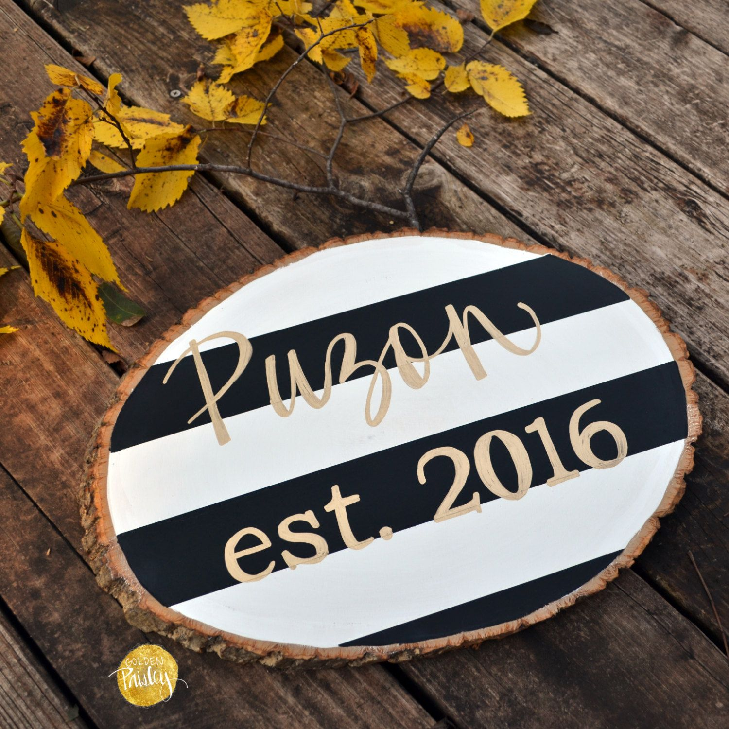 Personalized last name striped wood sign hand lettering wood slice