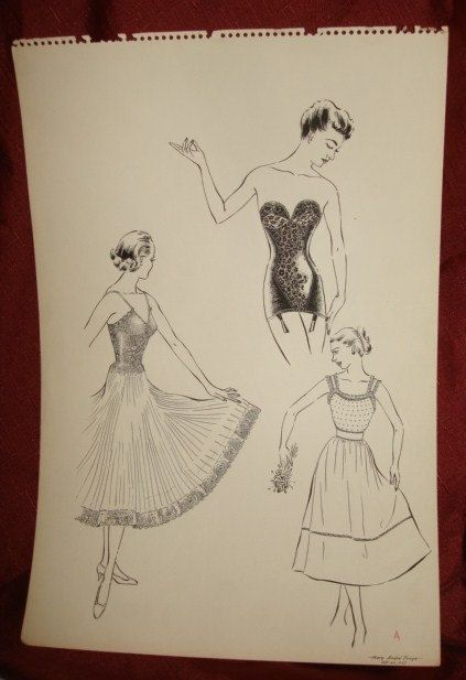1950's Era Lady's Fashion Pen & Ink by PastPossessionsOnly on Etsy, $24.95