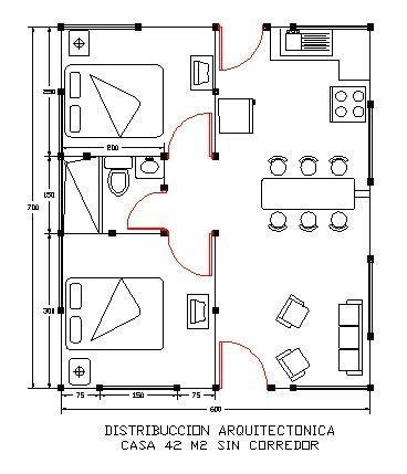 Casas prefabricadas casas de 36 a 45 metros costa for Distribucion de apartamentos de 40 metros