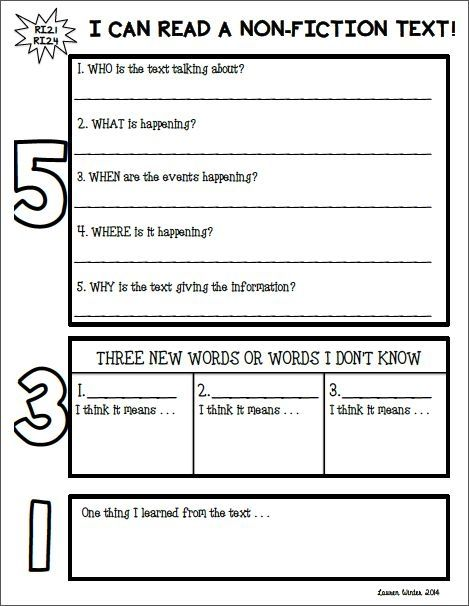 Non Fiction Text Response Graphic Organizer 5 3 1 Can Be