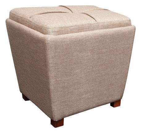 Fhe Group Tapered Fabric Storage Ottoman With Tray Tan Products