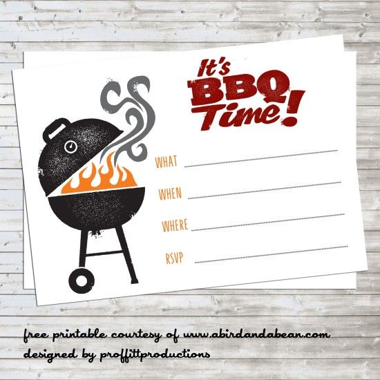 bbq party invitation free printable printables pinterest