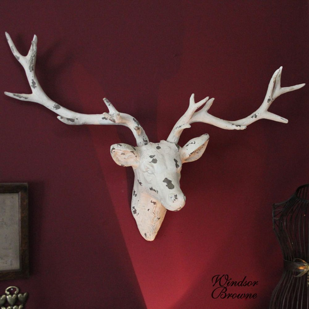 Large Cream Wall Mounted Stags Head Made From Clay And Painted In A Lovely Pale Colour This Stag Makes Statement To Any