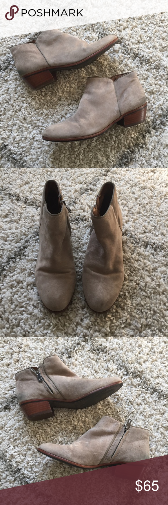 SAM EDELMAN GREAT CONDITION PETTY GRAY ANKLE BOOTS Very gently used! Only wear to note is there is some Indigo staining on the back lower suede near the heels as pictured. There's a small spot of indigo dye from jeans as well on one of the sides as pictured. Color is a gray suede. These are super cute with flare jeans or skinny jeans.   NO TRADES  NO MODELING Sam Edelman Shoes Ankle Boots & Booties #skinnyjeansandankleboots