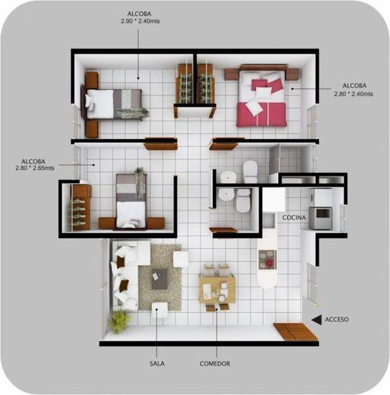 Resultado de imagen para apartamento 60m2 3 habitaciones for Distribucion apartamento 50 m2