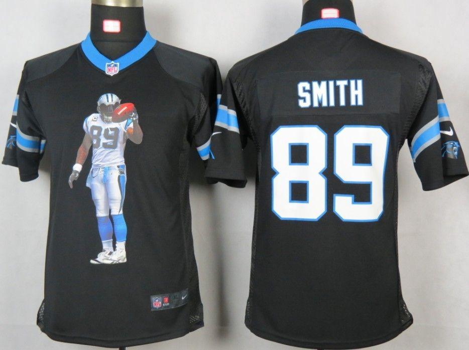 nike carolina panthers 89 steve smith black portrait fashion game youth nfl jersey 22.99